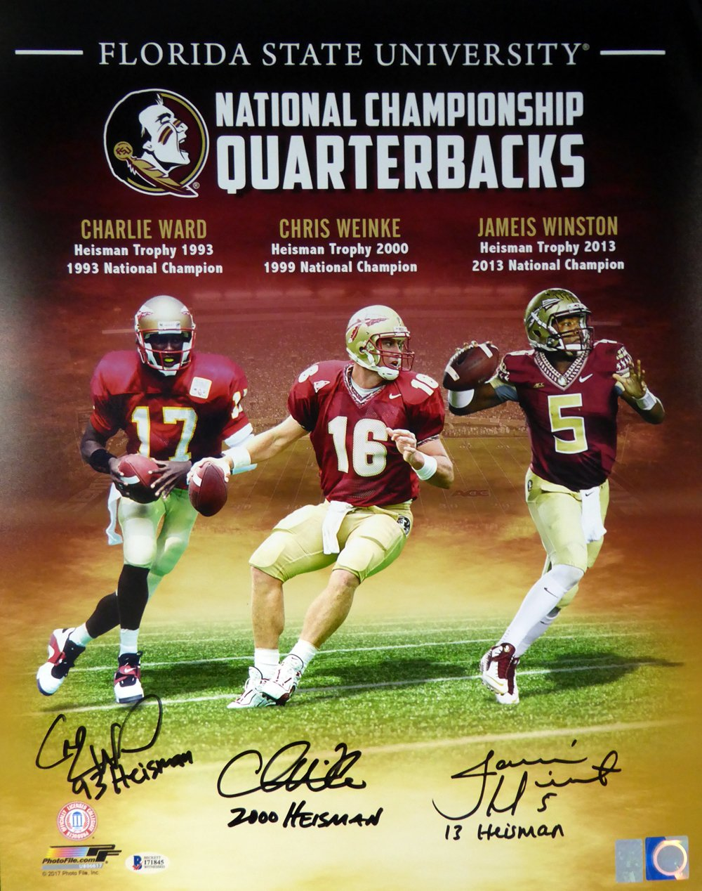 Florida State Seminoles Heisman Trophy Winners Jameis Winston, Chris Weinke  & Charlie Ward Autographed 16x20 Photo With Inscriptions Beckett BAS