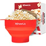 1 DAY SALE! PowerLix Microwave Popcorn Popper, Collapsible Silicone Bowl, Hot Air Popcorn Maker, Healthy Machine No Oil Needed, BPA PVC Free With Lid AND Convenient Handles - Free e-Book Include