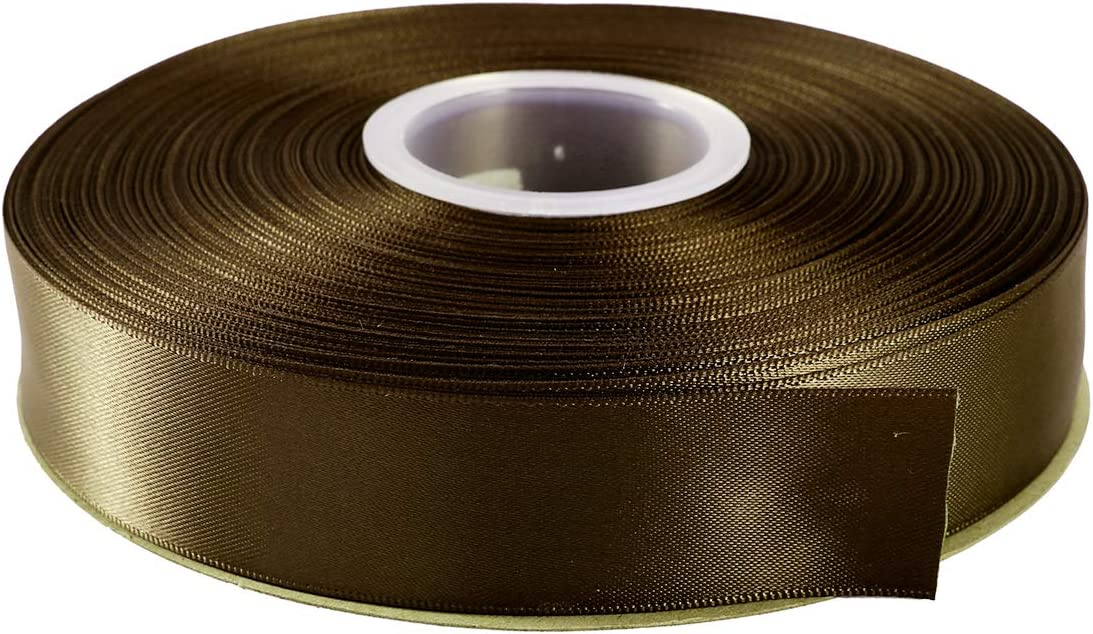 """ITIsparkle 1"""" Inch Double Faced Satin Ribbon 50 Yards-Roll Set for Gift Wrapping Scrap Books Party Favor Hair Braids Baby Shower Decoration Floral Arrangement Craft Supplies, Dark Olive Ribbon"""