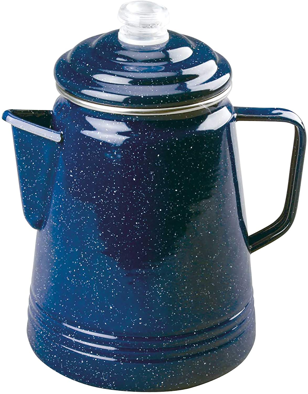 This is an image of a coffee percolator in shiny blue with white speckles all over it. With handle and snout.