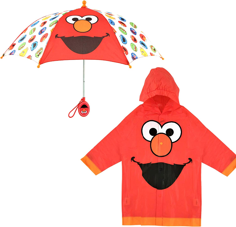 Sesame Street Kids Umbrella and Slicker, Elmo Toddler Boy Rain Wear Set, for Ages 2-5