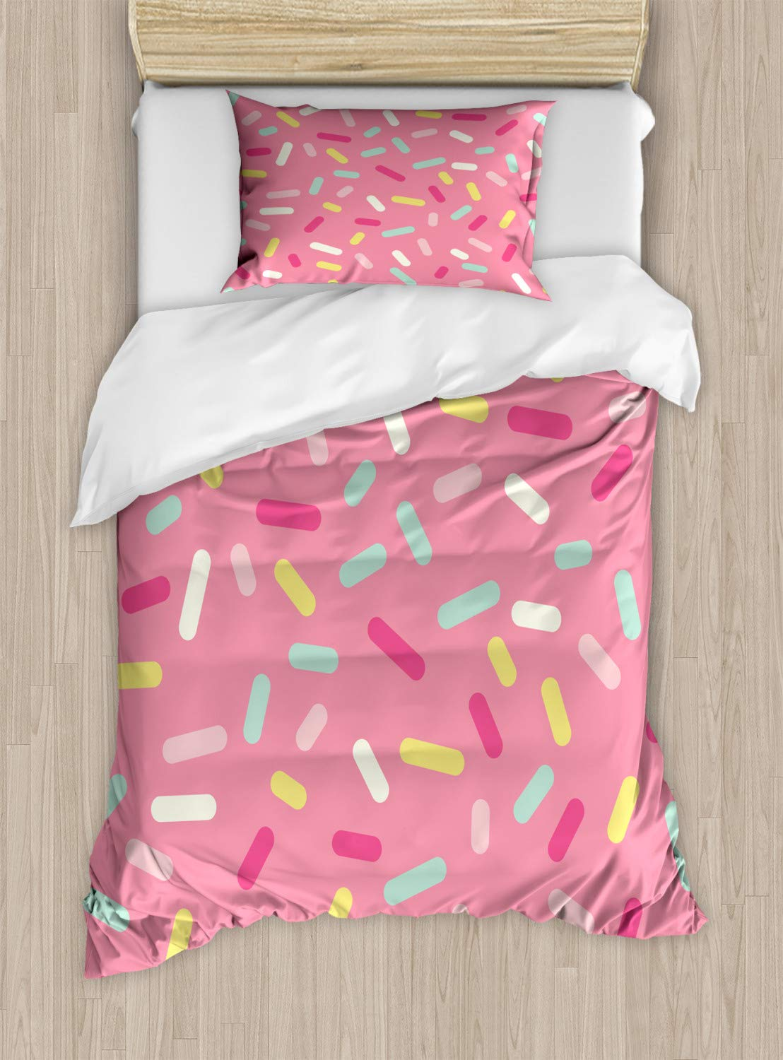 Ambesonne Pink and White Duvet Cover Set Twin Size, Abstract Pattern of Colorful Donut Sprinkles Tasty Food Bakery Theme, Decorative 2 Piece Bedding Set with 1 Pillow Sham, Pink Yellow