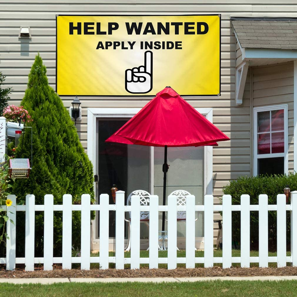 Set of 2 Vinyl Banner Sign Help Wanted Yellow Black2 Business Marketing Advertising Yellow Multiple Sizes Available 28inx70in 4 Grommets