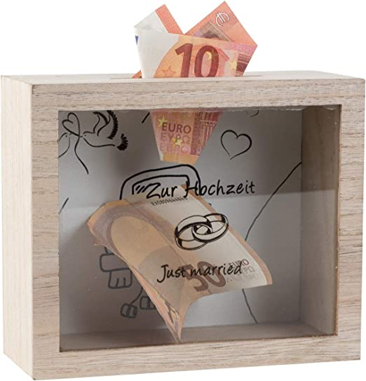 Lifestyle & More Caja de Dinero práctica Caja de Boda de Madera ...