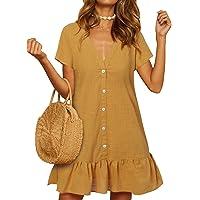 YOINS Vestido de verano para mujer, de manga corta, con cuello en V, de gasa, con botones, camiseta, túnica