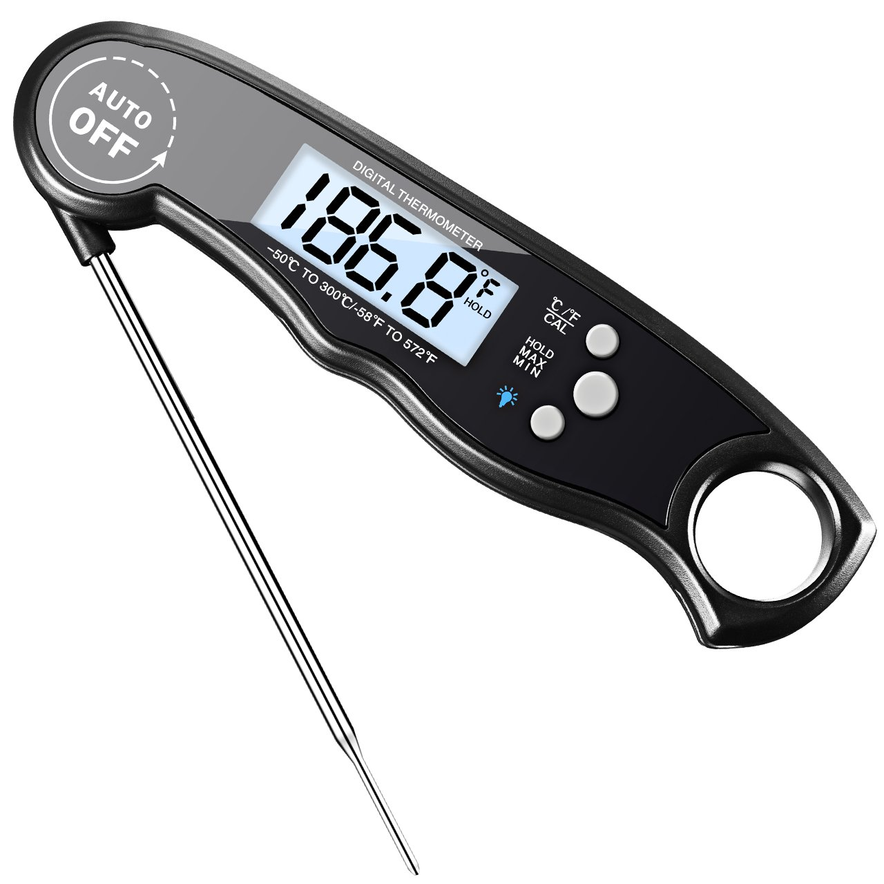 Meat Thermometer, HABOR Instant Read Thermometer Backlit Light Digital Cooking  Thermometer, Accurate, Foldable With Large LCD, Auto Turn On For Christmas  ...