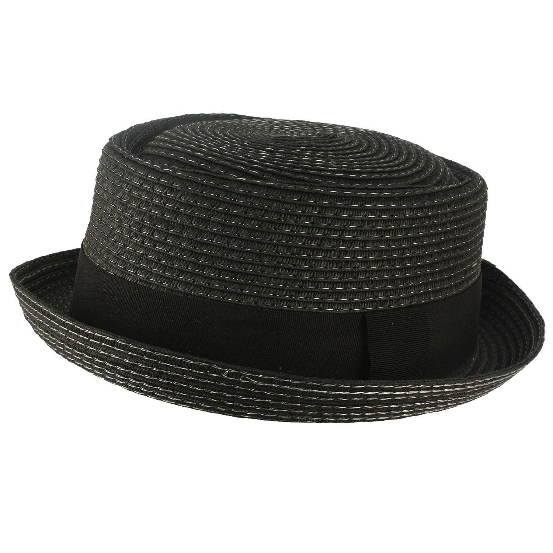 322d1ceeef SK Hat shop Men's Cool Summer Straw Pork Pie Derby Fedora Upturn Brim Hat  at Amazon Men's Clothing store: