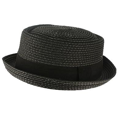 SK Hat shop Men s Cool Summer Straw Pork Pie Derby Fedora Upturn Brim Hat  Black 56cm 9c9b99949e3