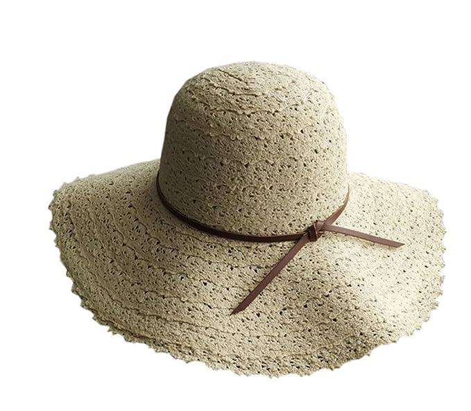 YueLian Cappello di Paglia con Visiera Grande Cappello Estivo con Pizzo ( Beige) f2f2dd05c111