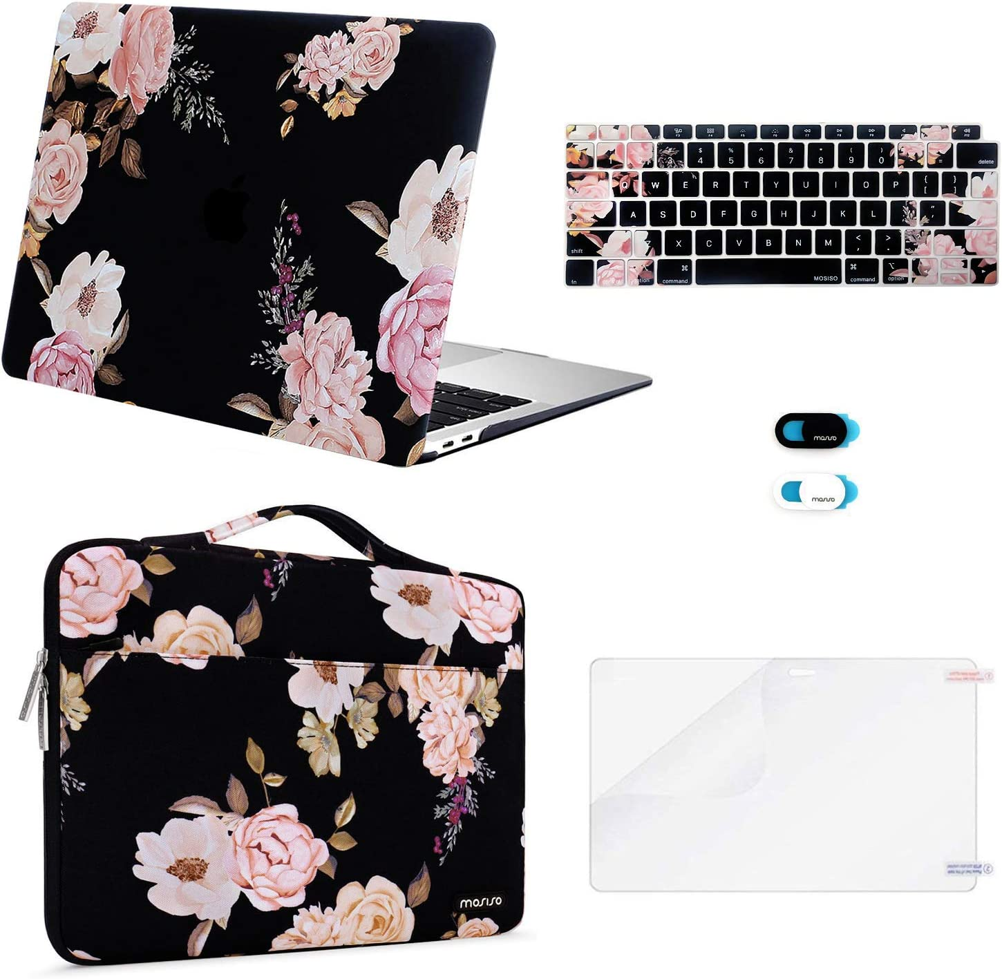 MOSISO MacBook Air 13 inch Case 2020 2019 2018 Release A2179 A1932 Retina, Plastic Hard Shell&Sleeve Bag&Keyboard Cover&Webcam Cover&Screen Protector Compatible with MacBook Air 13, Pink Peony