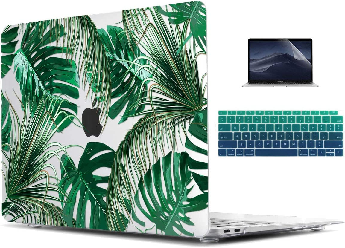 TwoL Tropical Palm Leaves Hard Shell Case Keyboard Cover Screen Protector for 2016-2019 MacBook Pro 15 inch Touch Bar Model A1990/A1707
