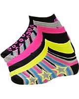 Steve Madden Womens Sport Socks Multicolor Print & Solid Black Gray Pink Yellow Pack of 6
