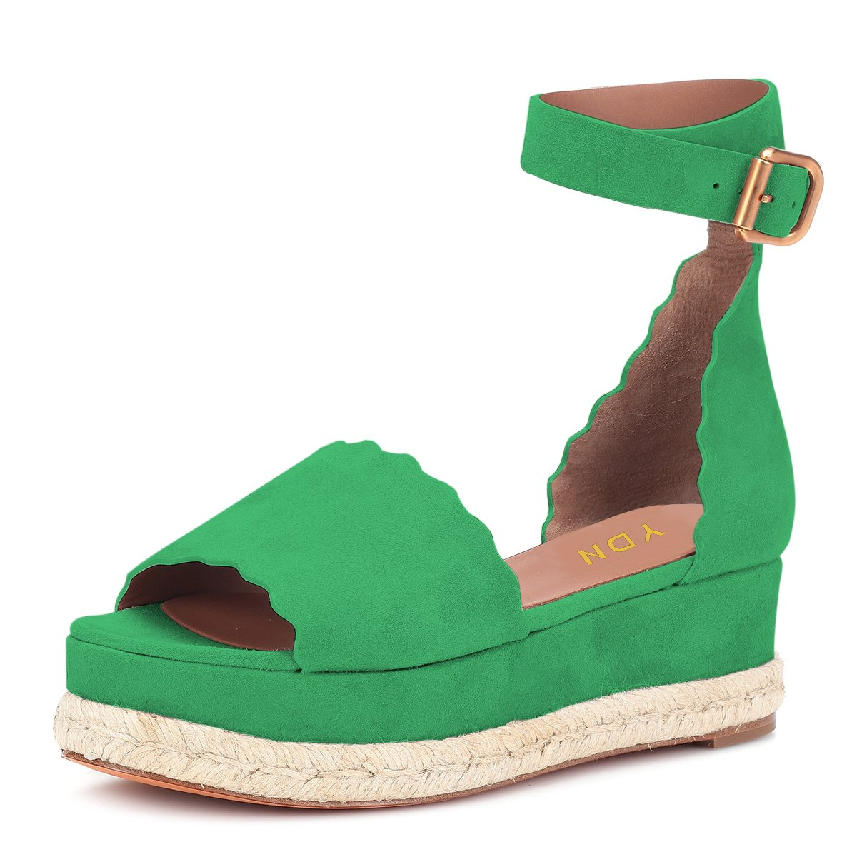 YDN Women Espadrille Peep Toe Ankle Straps Wedge Sandals Low Heels Platform Shoes with Buckle B07DCNG86V 12 M US|Green