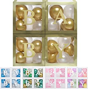 Baby Shower Boxes Party Decorations - 44 pcs, 32 Gold White Balloons, 4 Clear & Transparent Blocks, 8 Letters, First Birthday Centerpiece Decor & Supplies for Boys and Girls, Gender Reveal Backdrop