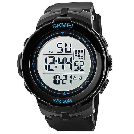 Hombre Reloj de pulsera deporte reloj alarma digital para hombre reloj cronógrafo negro: Amazon.es: Relojes