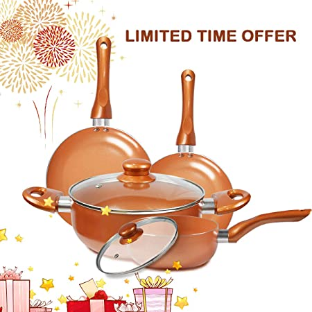 FRUITEAM 6pcs Cookware Set Ceramic Nonstick Soup Pot, Milk Pot and Frying Pans Set Copper Aluminum Pan with Lid Induction Gas Compatible, 1 Year Warranty Mothers Day Gifts for Wife