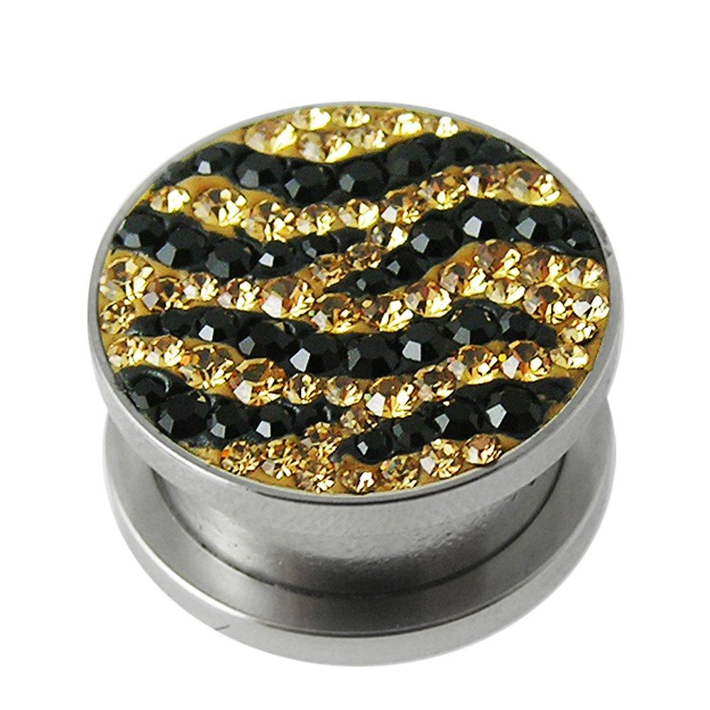 Black/Yellow Zebra Crystal stone Surgical Steel Flesh Tunnel Body jewelry
