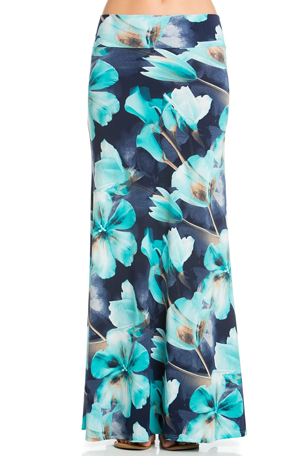 5Thread Foldover High Waisted Floor Length Maxi Skirt (XXX-LARGE, NAVY/AQUA FLOWER)