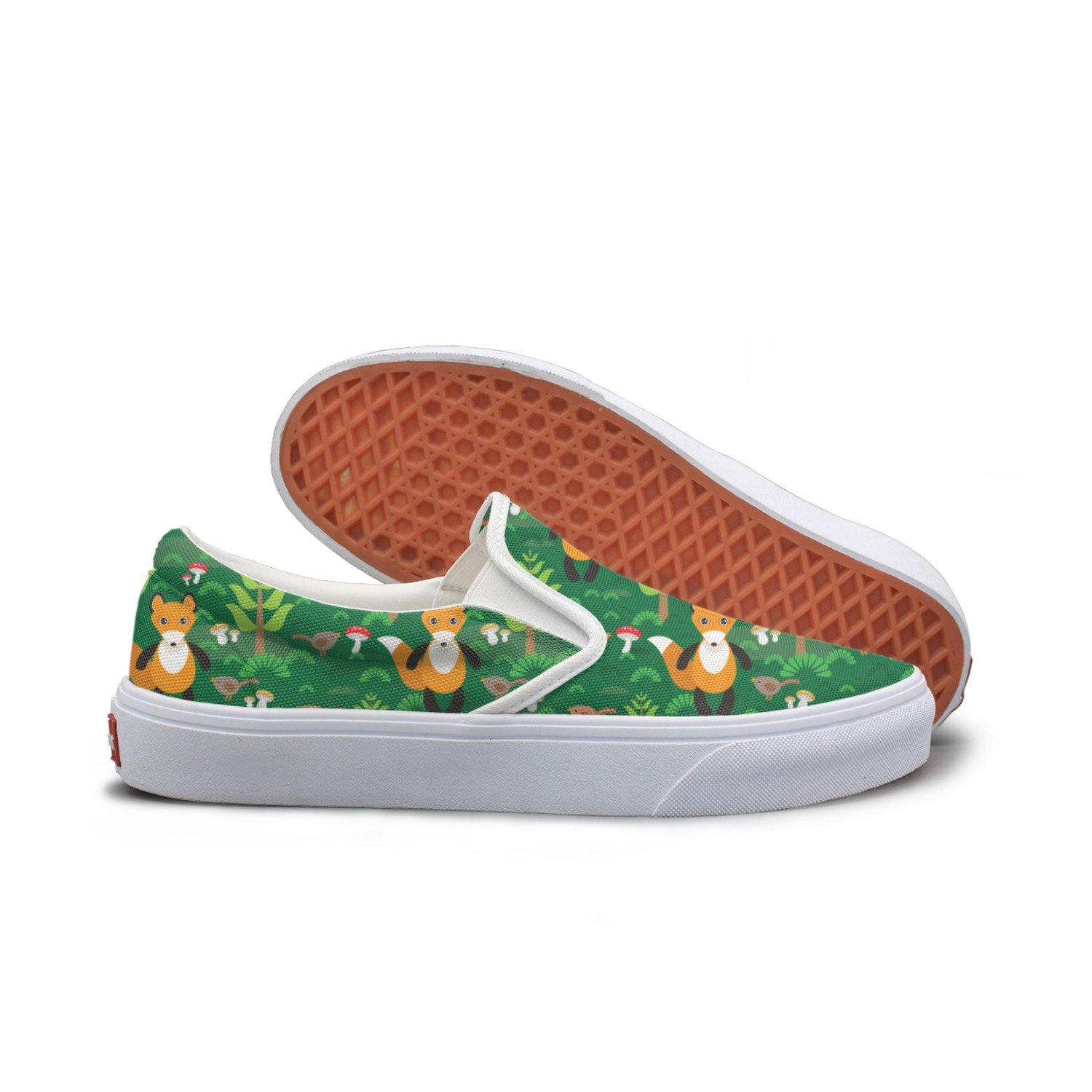 Lalige Fox And Forest Tree Mushrooms Women Printed Graphics Canvas Slip-ons Skate Shoes