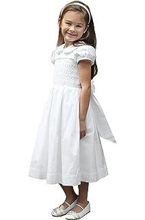 4d04bc5eb78 Strasburg Children Smocked First Communion Dress Girls White Baptism Dress  Flower Girl