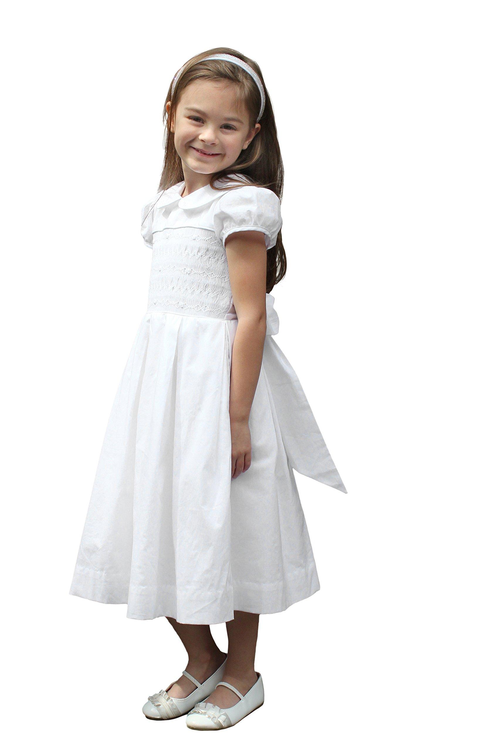 Strasburg Children Girls Smocked First Communion Dress Baptism Gown Flower Girl White (8)