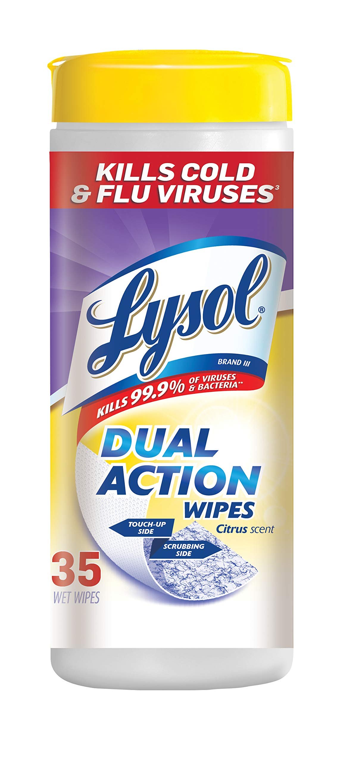 Lysol Dual Action Disinfecting Wipes, Citrus, 35 Count (Pack of 4)