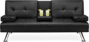 Best Choice Products Modern Faux Leather Convertible Futon Sofa Bed