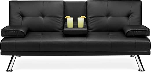 Best Choice Products Modern Faux Leather Futon Sofa Bed Fold Up & Down  Recliner Couch with Cup Holders - Black