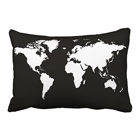 Amazon emvency throw pillow covers black white personalized emvency throw pillow covers black white personalized world map decor pillowcases 20 x 30 inch queen gumiabroncs Choice Image