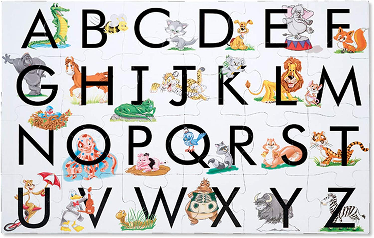 B0006GVB60 Melissa & Doug ABC Learn the Alphabet Floor Puzzle (Easy-Clean Surface, Promotes Hand-Eye Coordination, 24 Pieces, 24 L x 36 W, Great Gift for Girls and Boys - Best for 3, 4, 5, and 6 Year Olds) 71bFK2B6kC2L