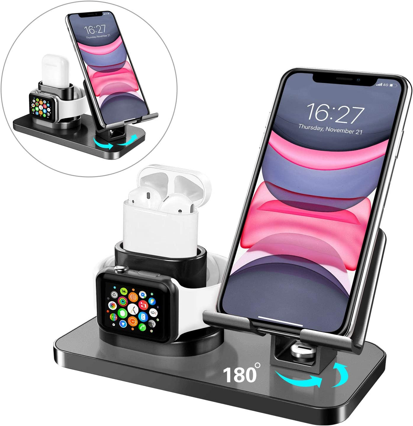 BENTOBEN 3 in 1 Charging Stand for Apple Watch(iWatch Series 5/4/3/2/1), Airpods 2/1, iPad Stand, iPhone Stand(11/XS MAX/XR/XS/8/8 Plus/7/7 Plus/6/6 Plus), Tablet Stand(Original Cables Required),Black