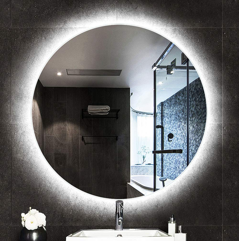 White light 60cm Mirror, Bathroom LED Light Mirrors, Waterproof and Explosion-Proof Large Round Backlit Wall Mirror