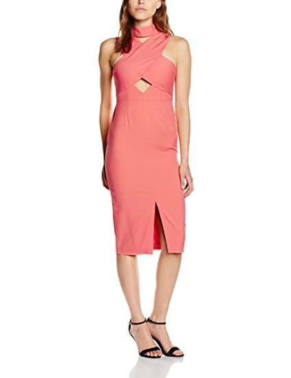 Womens Coral Pink High Neck Cut-Out Detail Centre Split Midi Dress Lavish Alice kZJoHTw
