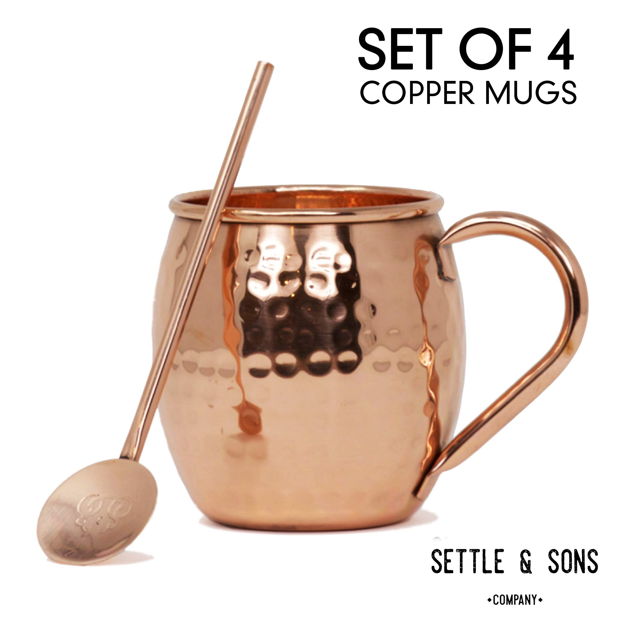 Moscow Mule Copper Mugs Set of 4. 16 Ounce 100% Solid Copper Mugs and 4 Copper Cocktail Straws