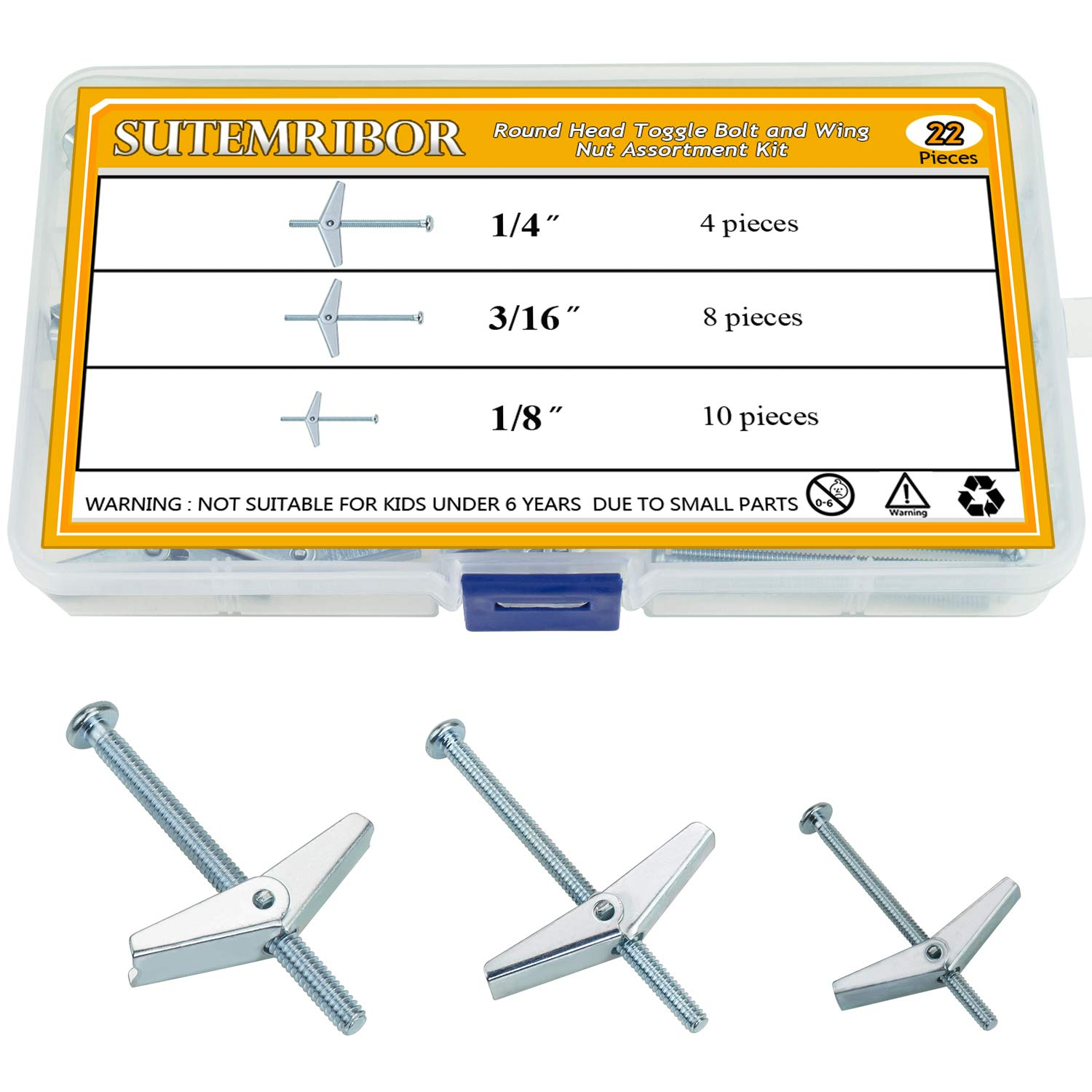 Sutemribor 1/8 Inch, 3/16Inch, 1/4Inch Toggle Bolt and Wing Nut for Hanging Heavy Items on Drywall, 22 PCS