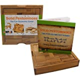 Solid Pentominoes Wooden Puzzle Geometry Brain Teaser Game with Challenges Booklet