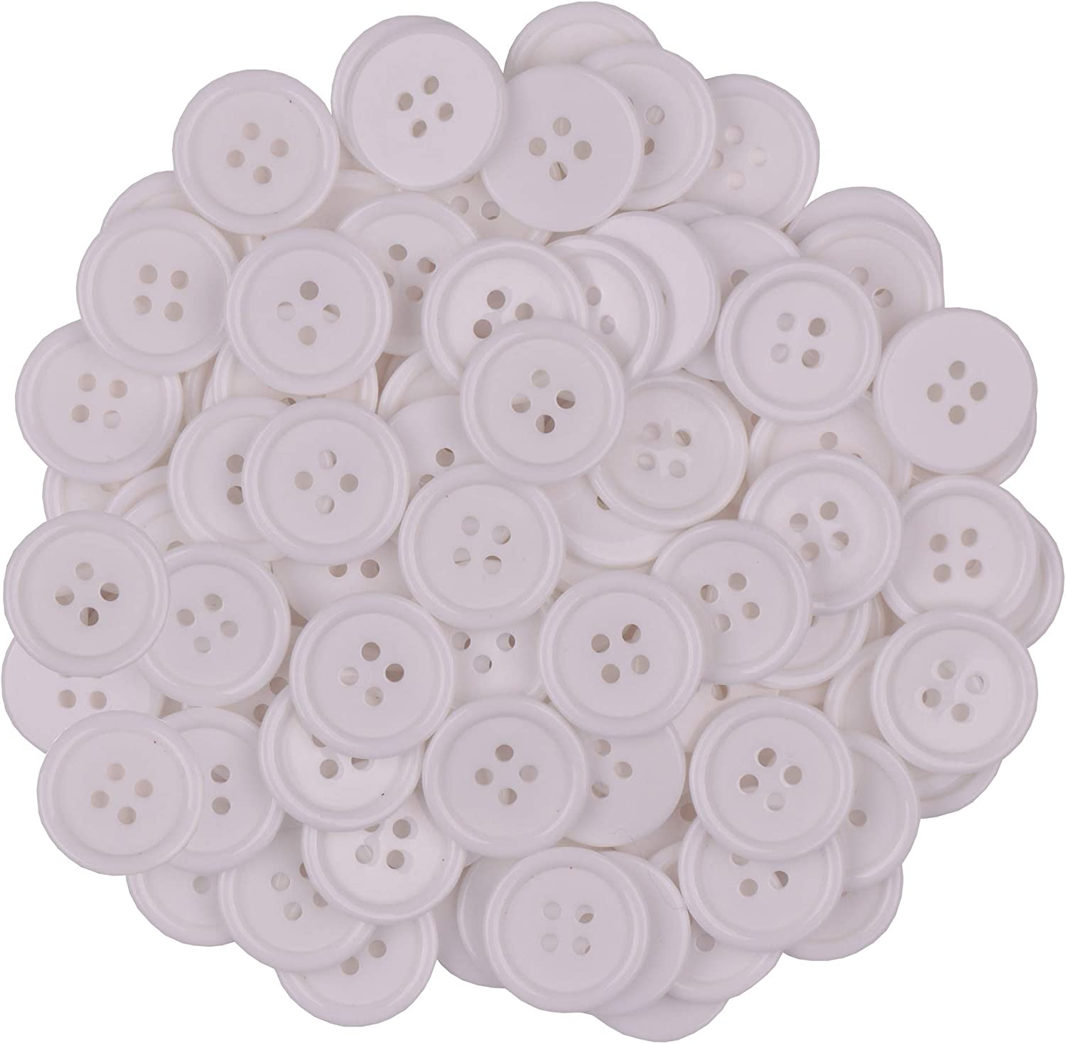Amethyst YAKA100Pcs 4//5inch Sewing Resin Buttons Round Shape 4 Holes Craft Buttons for Sewing Scrapbooking and DIY Craft 20mm