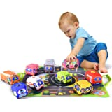 Soft Car Toy Set with Play Mat for 1 Year Old Baby,Toddlers,Boys and Girls ( 9 Vehicle and a Play mat/Storage Bag)   Baby Toy