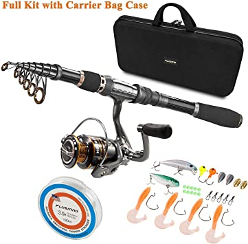 PLUSINNO Telescopic Fishing Rod and Reel Combos Full Kit, Carbon Fiber Fishing Pole, 12 +1 Shielded Bearings Stainless Steel BB Spinning Reel,