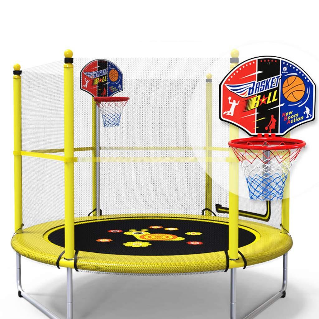 Trampoline Lxn 60インチ 円形 キッズ ミニ ジャンプ 安全エンクロージャー バスケットボール フープ アームレスト付き 子供への誕生日プレゼント 男の子と女の子用 イエロー  C B07JZJ5D6D