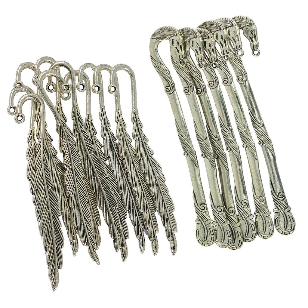 Set Segnalibro In Metallo A Forma Di Piuma Di Metallo Segnalibro Antico Argento Tibetano SM SunniMix 16pcs