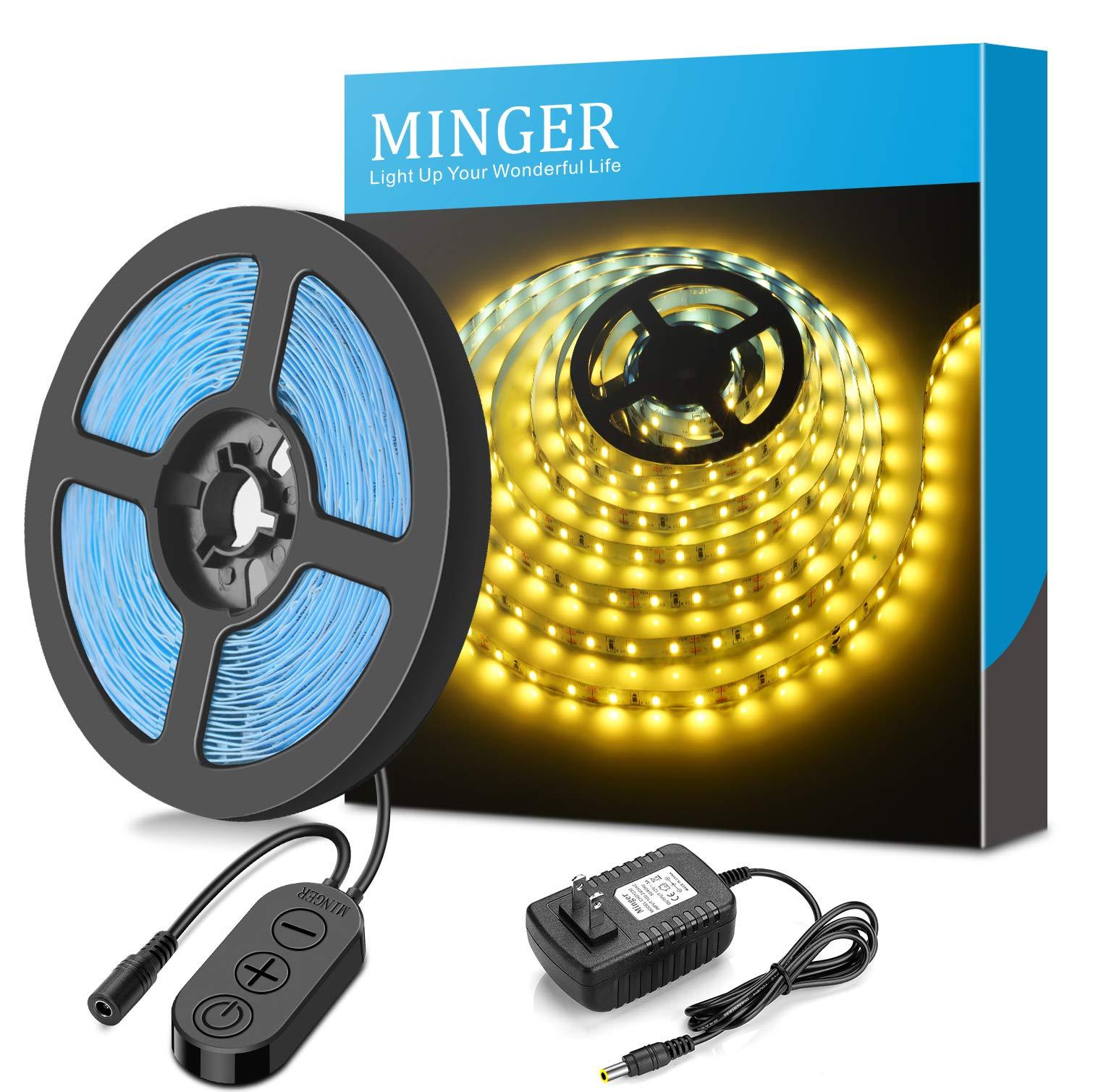 MINGER Dimmable LED Light Strip kit with UL Listed Power Supply, 300 Units SMD 2835 LEDs Flexible Strip Lights, 16.4ft 12V LED Ribbon, Non-Waterproof, 3500K Warm White Lighting Strips, DIY LED Tape