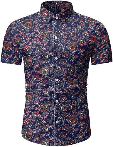 Nuevo 2020 Camisas Hawaianas Hombre Manga Corta Camisa Estampados Verano Shirt Corte Slim Pequeño Floral Playa Blouse Informales Transpirable Yvelands: Amazon.es: Ropa y accesorios