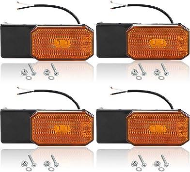 Hawkeye 4 Pcs LED Clearance Side Marker Lights White Outline Lamp for Trailer Truck Lorry Caravan White, rectangle