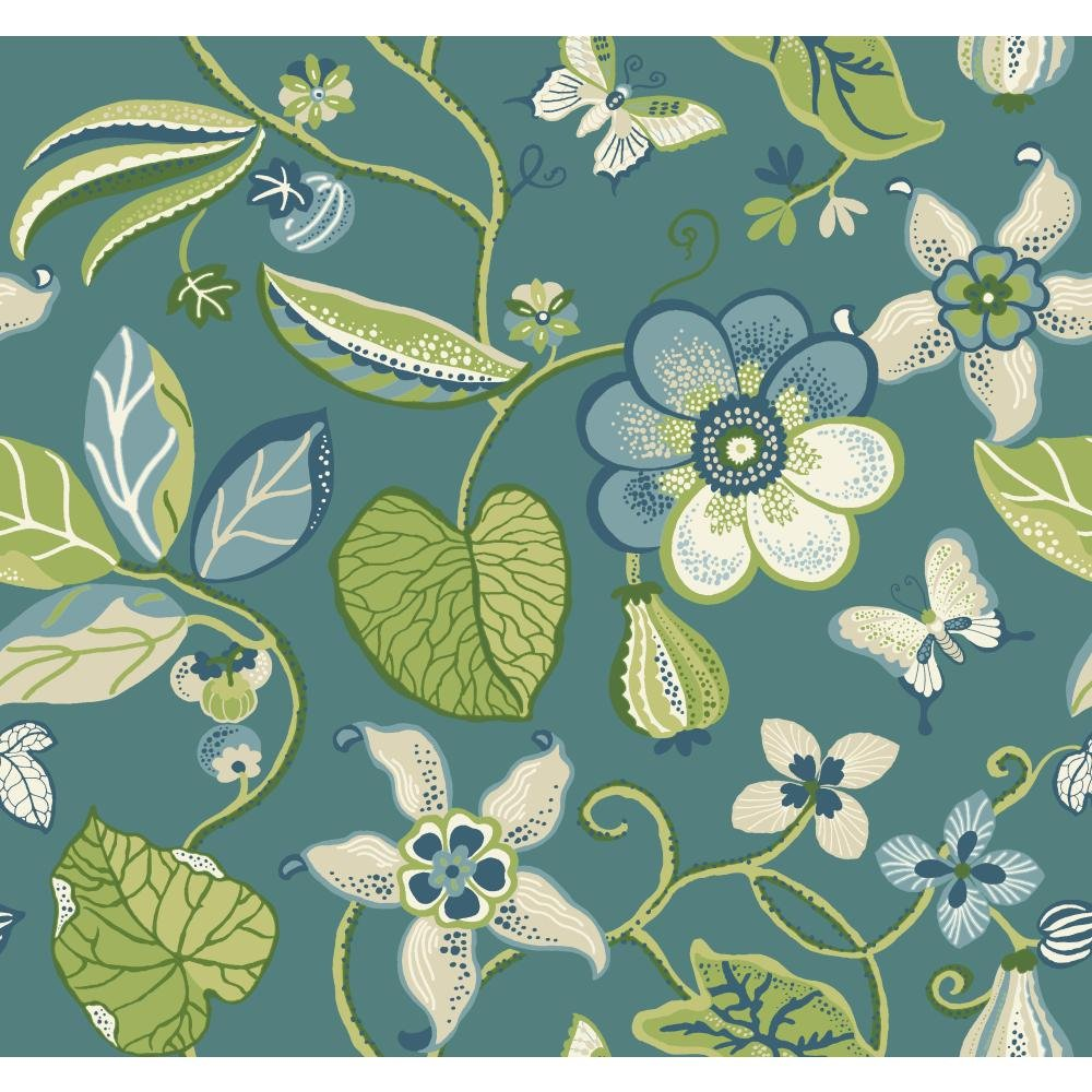 York Wallcoverings EB2006 Carey Lind Vibe Sea Floral Wallpaper, Teal/Sprout Green/Olive Green/Sky Blue/Yellowith Pale Peach/Deep Marine Blue/White by York Wallcoverings B00MMRMY5S