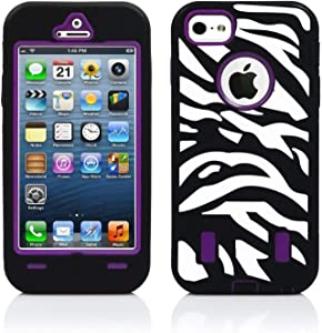 Robotek Zebra iPhone 5/5S/SE Full-Body Case   Heavy Duty Shockproof Rugged Cover   Drop Resistant 360 Degree Protection   Protective Case with Built-in Screen Protector (Purple)