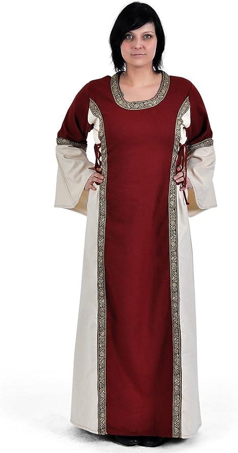 La edad media vestido - ella con cenefa, colour rojo/blanco de algodón vestido de la Edad media, juegos de rol, de Vikingo: Amazon.es: Deportes y aire libre