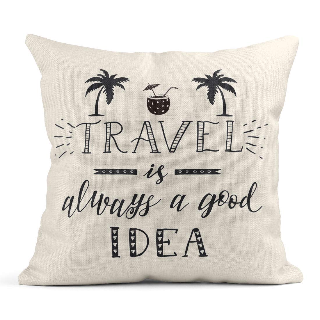 Kinhevao Cojín Coconut Hand Lettering Saying of Travel and Palm ...