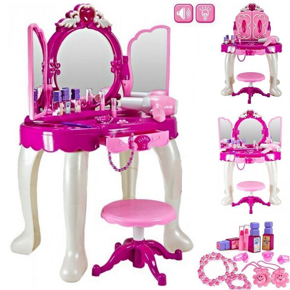 High Quality Girls Glamour Mirror Makeup Dressing Table Stool Playset Toy Vanity Light & Music Great Christmas XMAS Gift
