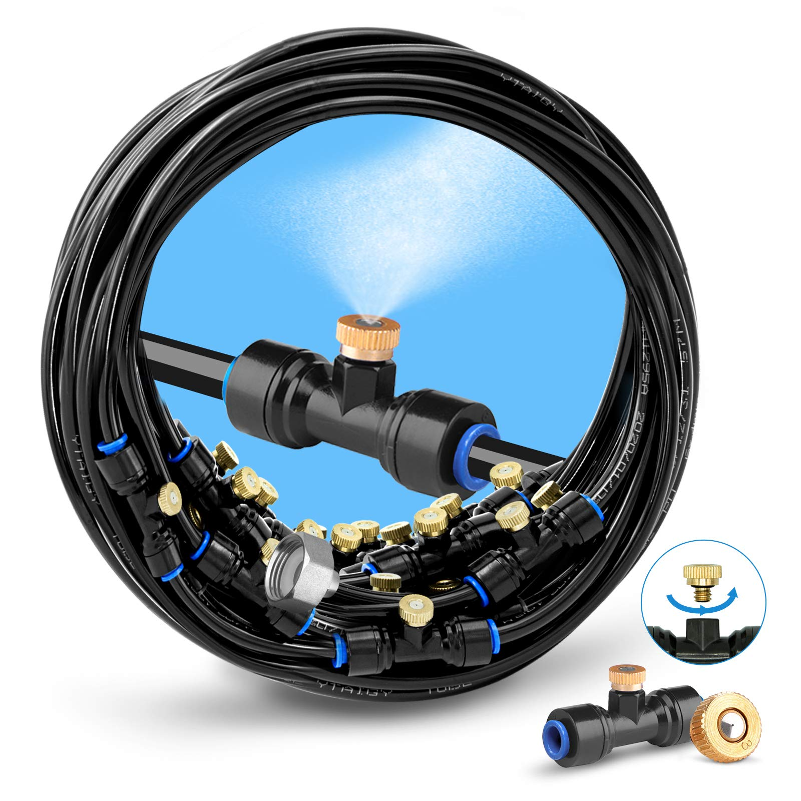 """HOMENOTE Misting Cooling System 75FT (23M) Misting Line + 28 Brass Mist Nozzles + a Brass Adapter(3/4"""") Outdoor Mister for Patio Garden Greenhouse Trampoline for waterpark"""